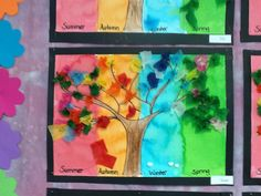 4 seasons art with tufted flowers.  The children brainstormed all the colours they thought represented each season first then painted a pre drawn tree with edicol dye.  The tree was coloured in crayon.  The leaves on the tree are  done by tufting squares of tissue paper.  This is where you put the square over the end of a pencil, twist so the paper is cupped over the end then dip in glue and place on the art piece. These were displayed on mass and looked amazing.