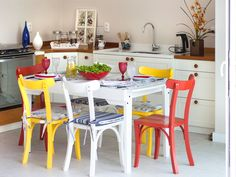 Colorful Chairs, Dining Chairs, Sweet Home, Kitchen, Table, Furniture, Design, Mix, Home Decor