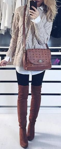 #Winter #Outfits / Knit Layers + OTK Boots