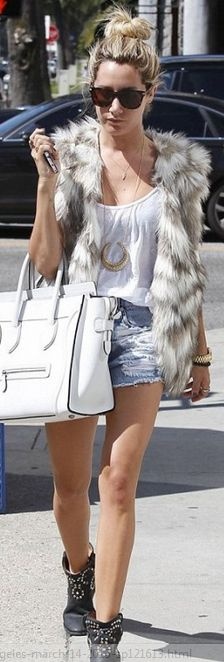 Who made  Ashley Tisdale's white tote handbag, black studded boots, denim shorts, and gold watch that she wore in Los Angeles on March 14, 2013?
