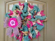 Blue Pink & Purple Chevron Wreath by RCWreaths on Etsy, $40.00