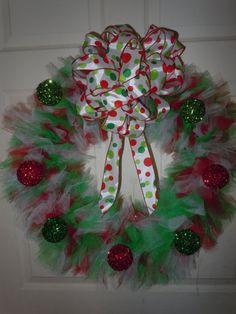 Red Green and White Tulle Christmas wreath by UniquelyNormalCrafts, $50.00