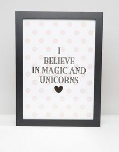 Miss Etoile I Believe in Magic & Unicorns Framed Picture