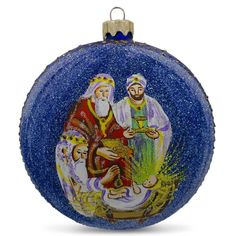 """4"""" The Wise Men's' Gifts Glass Ball Nativity Christmas Ornament"""