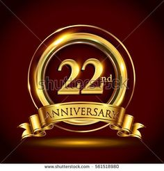 22nd golden anniversary logo, twenty two years birthday celebration with gold ring and golden ribbon.
