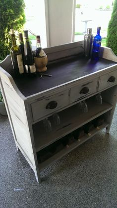 Bar made from re-purposed changing table :) Refurbished Furniture, Bar Furniture, Repurposed Furniture, Furniture Projects, Furniture Makeover, Reclaimed Furniture, Painted Furniture, Diy Projects, Changing Table Redo