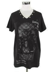 Addiction noir V-Neck T-Shirt Black x White / See more at http://www.cdjapan.co.jp/apparel/sexpot.html #harajuku #punk fashion