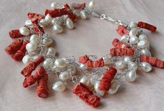Koralle - Barockperlen-Korallen-Collier *Traumstück* - ein Designerstück von silberfuechsen bei DaWanda