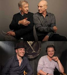 X-Men! Magneto and Xavier, old and young. Interestingly, I think young Magneto is hot, but old Xavier could get it.