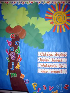 Chicka Chicka Boom Boom bulletin board for the beginning of the year Kindergarten Bulletin Boards, Summer Bulletin Boards, Back To School Bulletin Boards, Classroom Bulletin Boards, Kindergarten Classroom, Classroom Themes, Classroom Activities, Classroom Borders, Birthday Bulletin Boards