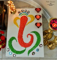 A passion page loaded with inspirational décor ideas and glance on. Easy Rangoli Designs Diwali, Simple Rangoli Designs Images, Rangoli Designs Flower, Colorful Rangoli Designs, Rangoli Ideas, Diwali Rangoli, Flower Rangoli, Ganesh Rangoli, Ganesha