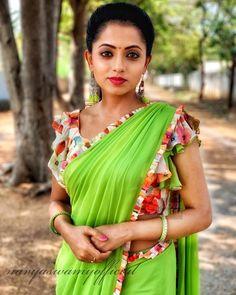 In a green color saree and floral & ruffle blouse design Kashta Saree, Saree Dress, Saree Draping Styles, Saree Styles, Beautiful Bollywood Actress, Beautiful Indian Actress, Indian Actress List, Saree Color Combinations, Saree Hairstyles