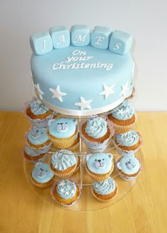 Ideas Baby Shower Cupcakes For Boy Blue First Birthdays Baptism Cupcakes, Baby Shower Cupcakes For Boy, Cupcakes For Boys, Baby Cupcake, Bear Cupcakes, Baby Boy Christening Cake, Baby Boy Cakes, Boy Baptism, Baptism Ideas