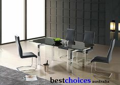 Bestchoices Black Glass Top Extendable Dining Table 2.2m Length