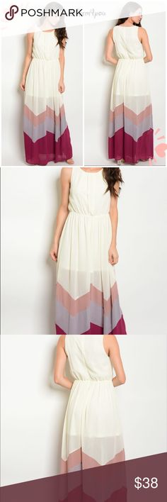 Ivory multi chevron dress Brand new from my boutique with tags. Fabric content- 100% polyester. Bundle and get discount!  PRICE FIRM UNLESS BUNDLED. SORRY PLEASE NO TRADES .  Sizes available- S, M, L. Please don't hesitate to ask questions! Message me below with size. Dresses Maxi