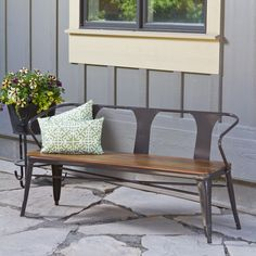 A Wood Slat Seat And Metal Frame Give This Sturdy Bench A Stylish Outdoor  Feel.