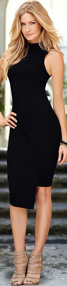 Fashion In The City ~ Black High Collar Racerback Dress