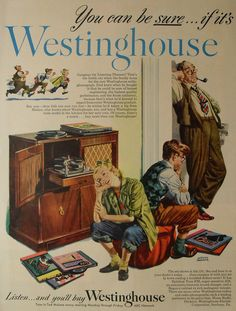 1940s Westinghouse vintage advertisement illustration PHONOGRAPH vinyl records recordplayer turntable