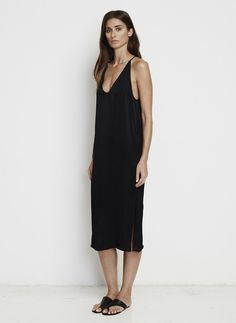 PLAIN BLACK SATIN - EAST WEST DRESS