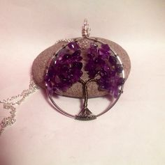 Wire work amethyst tree of life necklace  on Etsy, £10.00