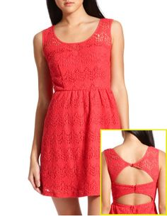 Open back, coral & lace. Already purchased and wearing this to boyfriend's sister's wedding in May!