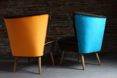 soft orange and turquoise chairs