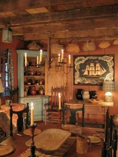 Primitive Dining this is my kitchen of my dreams . simple and cozy Primitive Dining Rooms, Primitive Homes, Primitive Furniture, Primitive Kitchen, Primitive Decor, Primitive Country, Primitive Bedroom, Primitive Antiques, Country Decor