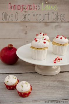 DIY Cupcake Recipes : Pomegranate and Lime Olive Oil Yogurt Cupcakes