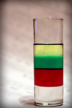 """Photo: Layered shot """"Lithuanian flag"""" - grenadine, mint liqueur and tequila gold. Sweet potion, suitable to impress the ladies :) Layered Shots, Layered Drinks, Lithuanian Flag, Lithuanian Recipes, Lithuania Food, Lithuania Travel, Drinks Alcohol Recipes, Non Alcoholic Drinks, Beverages"""