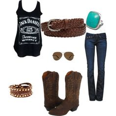 """""""Summer country outfit"""" by geri-fletcher on Polyvore ..don't think I'd do the boots but I love everything else"""
