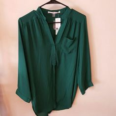 Hawthorne M Maternity Blouse Beautiful emerald green Sleeves can be buttoned up for different look 100% Polyester   Purchased from stitch fix and never wore. Could pass for regular shirt and not maternity! Hawthorne   Tops Blouses