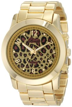 Breda Women's 2308-Gold/Leopard Jordan Oversized Boyfriend Leopard Dial Watch, (boyfriend watch)