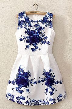 Chinese Style Blue-and-white Dress [DLN0075] - PersunMall.com