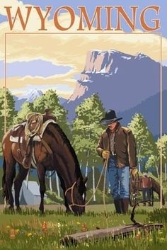 Cowboy and Horse in Spring - Wyoming
