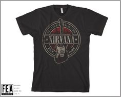 "Nirvana "" Est. 1988 Guitar Stamp"" T-Shirts - Madcap Music and More.com, a great fully licensed band t-shirt."