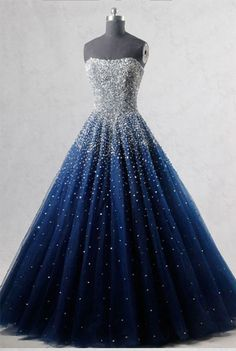 Prom Dress Princess, Royal Blue Strapless Sleeveless Beading Sequined Tulle Floor Length Long Prom Dress Shop ball gown prom dresses and gowns and become a princess on prom night. prom ball gowns in every size, from juniors to plus size. Sequin Prom Dresses, Pretty Prom Dresses, Blue Evening Dresses, Ball Dresses, Elegant Dresses, Beautiful Dresses, Ball Gowns, Sweet 16 Dresses Blue, Sweetheart Prom Dress