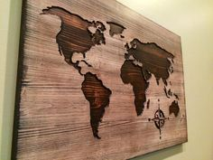 Carved wooden world map wood wall art world map home door HowdyOwl