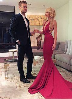 Red mermaid v neck long prom dress,red formal dresses