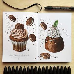Ideas For Cupcakes Illustration Sketches Album Copic Drawings, Pencil Art Drawings, Art Drawings Sketches, Copic Marker Art, Copic Art, Cupcake Illustration, Illustration Sketches, Food Art Painting, Chibi Kawaii