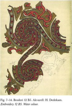 water color of scrolling motif found in the Oseberg burial