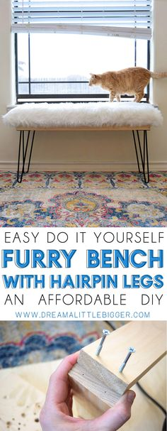 Don't you just love furry things? This DIY furry bench has hairpin legs and is totally afforable to make. See the full tutorial to learn how!