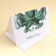 Blue Octopus personalized notecards from Concertina Press.