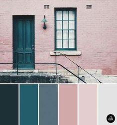 Colors that compliment dark teal an indigo door inspired color palette blus Best Exterior Paint, Exterior Paint Colors For House, Bedroom Paint Colors, Paint Colors For Home, Exterior Doors, Wall Exterior, Paint Colours, Grey Colors, Pink Color