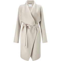 BOSS Catifa Wool Cashmere Belted Wrap Coat, Cream ($870) ❤ liked on Polyvore featuring outerwear, coats, woolen coat, cashmere coats, wool coat, wool lined coat and long sleeve coat