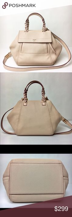 """Authentic Tory Burch Small  Satchel Light Oak classic Tory Burch satchel handbag is a must have! This piece is in EXCELLENT condition like new with no tags attached. The color is """"light oak"""". Can Holds a 7"""" tablet, a wallet, a small makeup bag, sunglasses & more!  DETAILS •   Pebbled leather •   Double zipper closure •   Flat handles w/ braided detailing; 4.98"""" drop •   Adjustable, removable  strap with 23.3"""" •   1 exterior zipper pocket, 1 card slot •   1 interior zipper pocket, 3 slit…"""