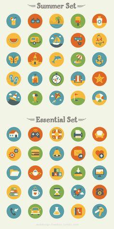 FreebiesQuest - Summer Essentials Icon Set by Elena Genova Web Design, Flat Design Icons, Icon Design, Flat Icons, Graphic Design, Icon Set, Summer Icon, Badge Design, Vector Icons