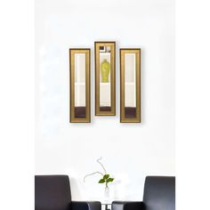 Rayne Mirrors American Made Vintage Gold Mirror Panel (Set of 4- 9.5 x 37.5), Black/Gold