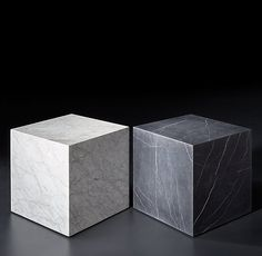 RH Modern's Marble Plinth Cube Side Table:Both American and Italian designs of the informed our table& geometric proportions and flat planes clad in Carrara marble. A tracery of natural, silver-grey veining gives each table unique character. Cube Coffee Table, Cube Side Table, Side Tables, Coffee Tables, Marble Block, Marble End Tables, Bar Table Sets, Block Table, Marble Art