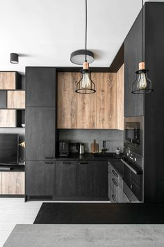Interior designer created a modern monochrome industrial apartment in Lyon – Interior architecture agency in Lyon –www. Kitchen Room Design, Modern Kitchen Design, Home Decor Kitchen, Interior Design Kitchen, Kitchen Furniture, New Kitchen, Kitchen Ideas, Industrial Kitchen Design, Kitchen Wood