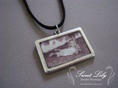 Custom Rectangle Photo Pendant  Antique Silver by ilovethoseboys